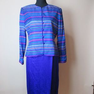 Adrianna Papell 10 multi color top & skirt silk